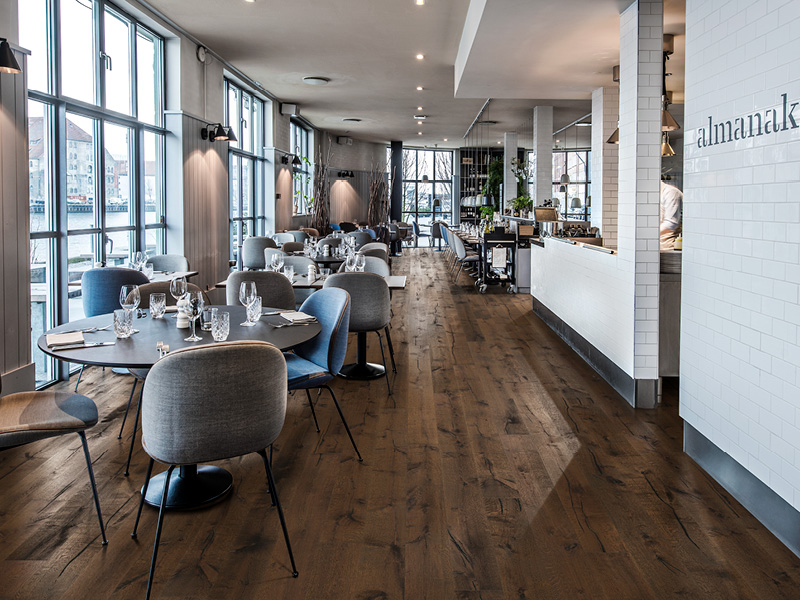 Wood flooring for high traffic areas, e.g. restaurants