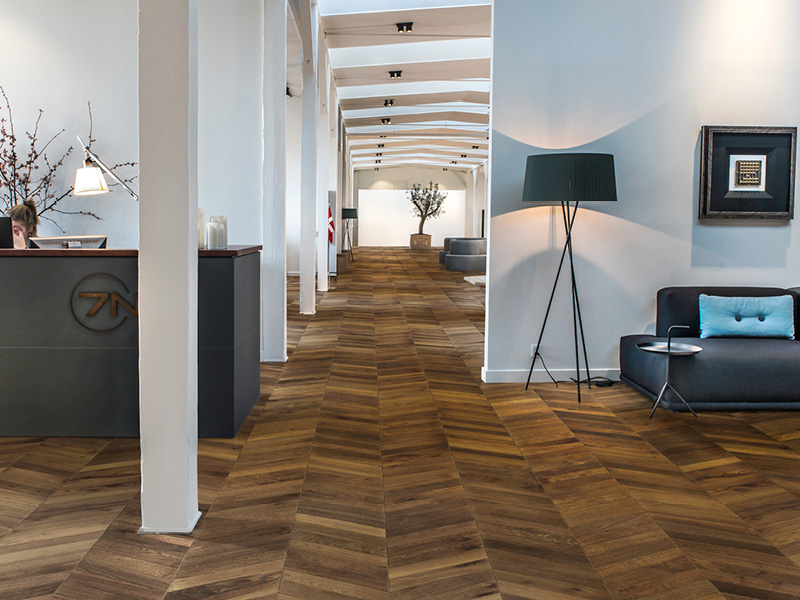 Wood flooring for normal traffic areas, e.g. offices
